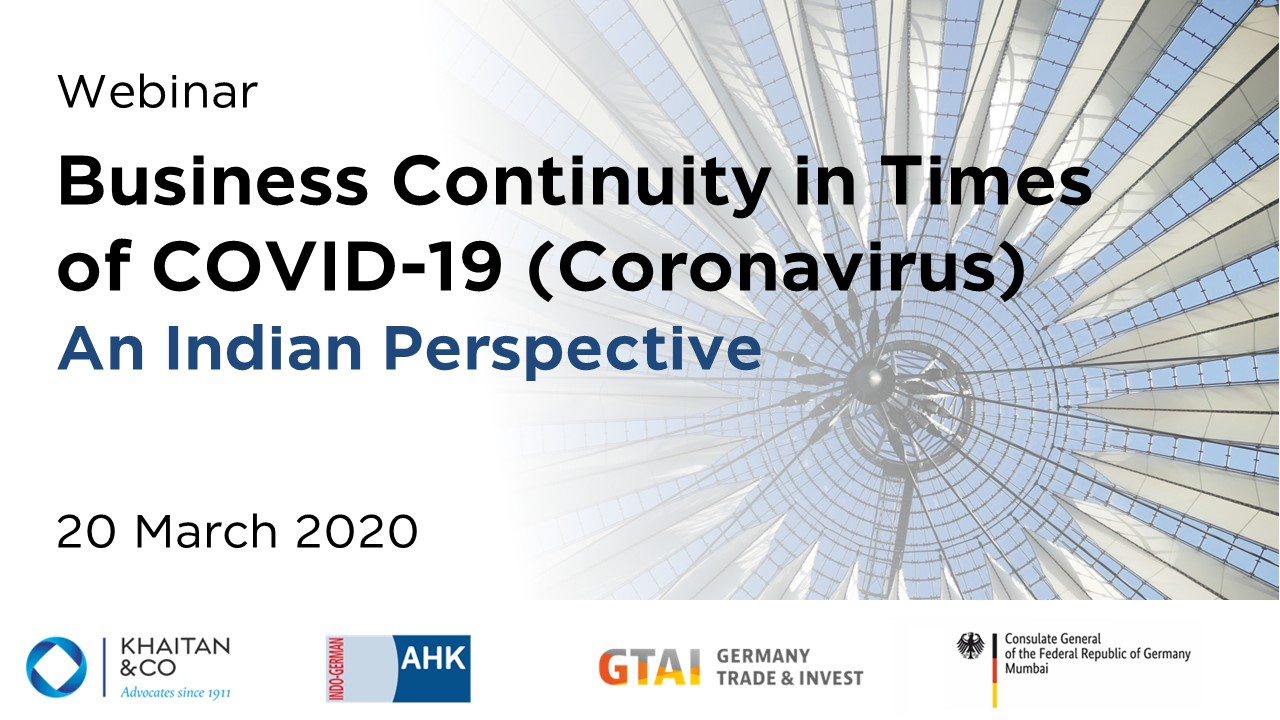 Business Continuity in Times of COVID-19 (Coronavirus) - An Indian Perspective